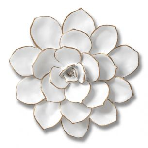 Decorative Wall Art Flower Ornament w White and Gold Petals 20cm